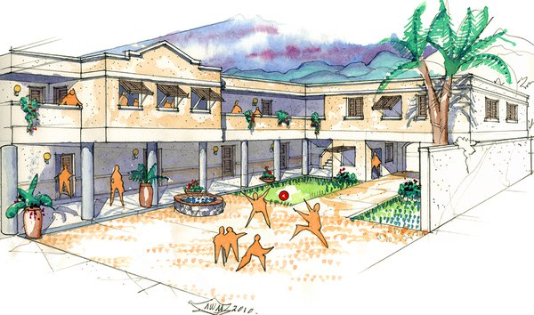 Bon Samaritain Mission & Orphanage Interior Courtyard Perspective Watercolor
